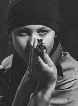 Free Stock Photo of Girl Pointing a Gun - Monochrome