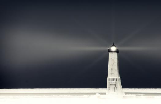 Free Stock Photo of Cold Winter Landscape - Lighthouse on the Ice