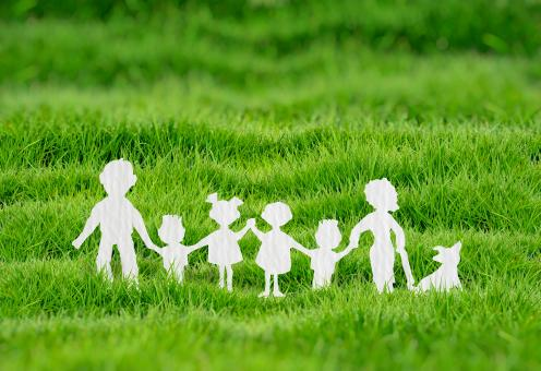Free Stock Photo of Family Holding Hands - Family Concept - Paper Silhouettes
