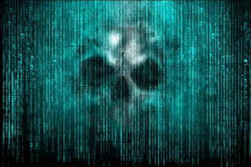 Free Stock Photo of Cyber Attack - Skull over Computer Code