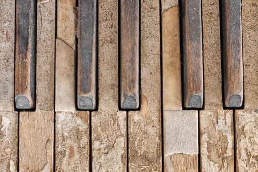 Free Stock Photo of Old Piano Keys