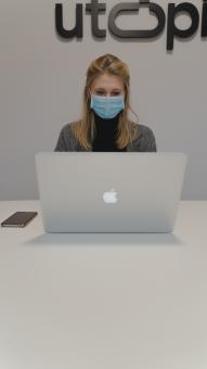 Free Stock Photo of Woman with Mask - Working at Office