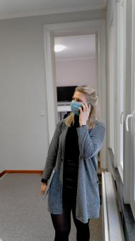 Free Stock Photo of Office Working with Mask on the Phone