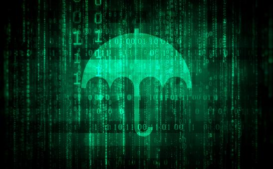 Free Stock Photo of Data Protection - Digital Umbrella Over Binary Code