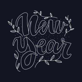 Free Stock Photo of Beautiful and Feminine Lettering for the New Year