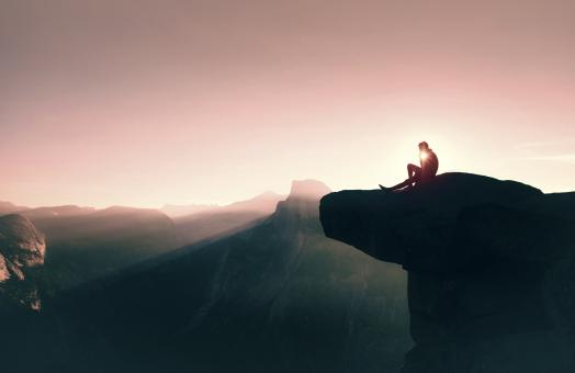 Free Stock Photo of Dawn Over Yosemite - New Beginning - Man Contemplating Sunrise