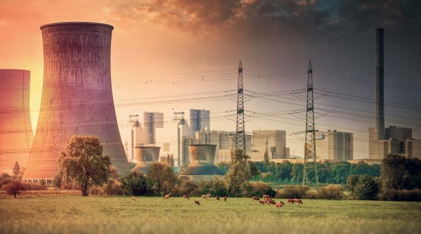 Free Stock Photo of Industrial Landscape - Power Plant with Cows Grazing Nearby