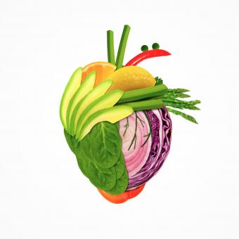 Free Stock Photo of Healthy Eating - Heart Made of Fresh Fruits and Vegetables