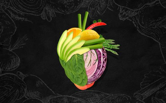 Free Stock Photo of Heart Made of Fruits and Vegetables on Blackboard
