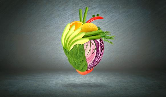 Free Stock Photo of Healthy Heart - Health Eating Concept with Fruits and Vegetables