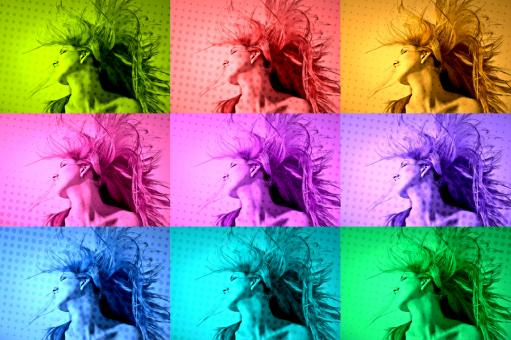Free Stock Photo of Multiple Personality - Colorful Portraits of Beautiful Woman