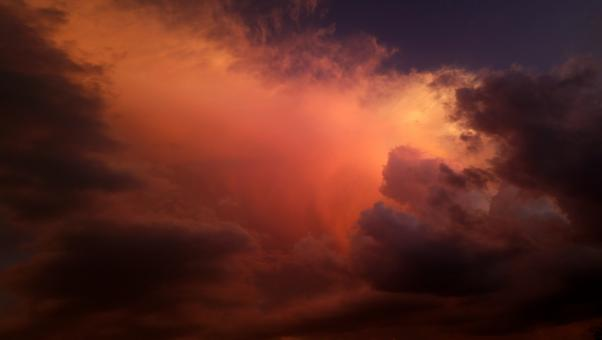 Free Stock Photo of Colorful Storm Clouds at Sunset