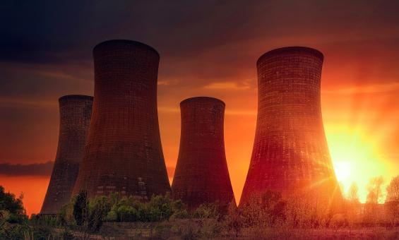 Free Stock Photo of Power Plant at Sunset - Cooling Towers