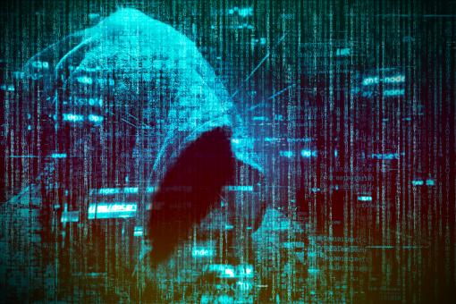 Free Stock Photo of Computer Hacker over Computer Code - Blue Version