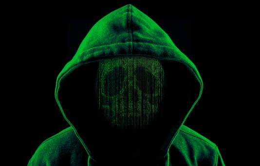 Free Stock Photo of Hooded Hacker as a Skull of Computer Code - Green Version