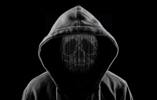 Free Stock Photo of Hooded Hacker as a Skull of Computer Code