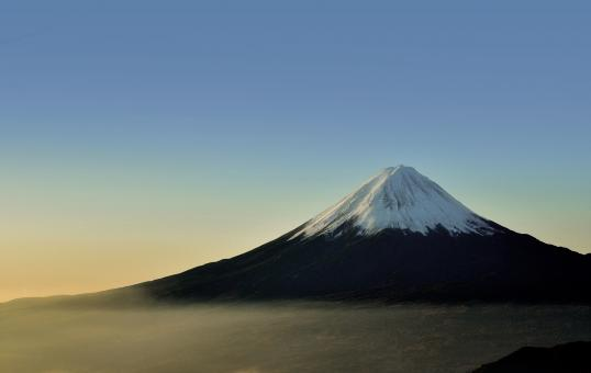 Free Stock Photo of Mount Fuji - Foggy Sunrise over Mount Fuji