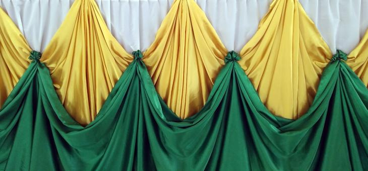 Free Stock Photo of Green and Gold Velvet Curtain Drapes