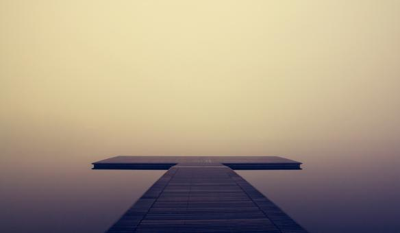 Free Stock Photo of Pier in the Morning Mist - With Copyspace