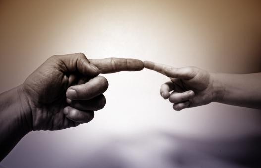 Free Stock Photo of Father and Son Touching Fingers - Togertheness