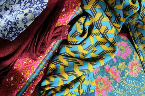 Free Stock Photo of Bright Fabrics Background