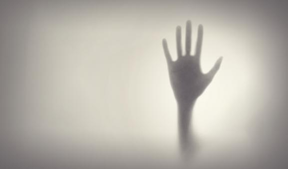 Free Stock Photo of Crying for Help - Fear - Hand Silhouette on Glass