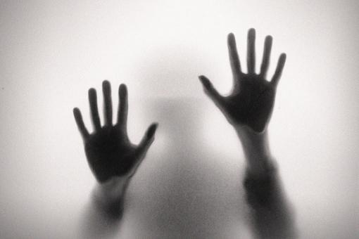 Free Stock Photo of Crying for Help - Fear - Hand Silhouettes on Glass - Noisy Looks