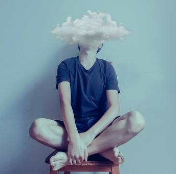 Free Stock Photo of Feeling Blue - Sadness - Teen with Dark Clouds Over Head