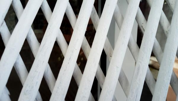 Free Stock Photo of white colored old rattan wood line in diagonal pattern