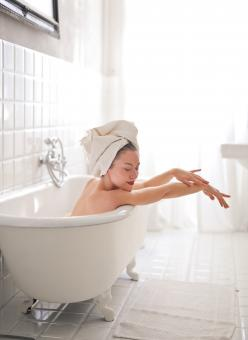 Free Stock Photo of woman in a bathtub