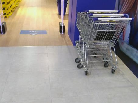 Free Stock Photo of Shopping trollies outside a store