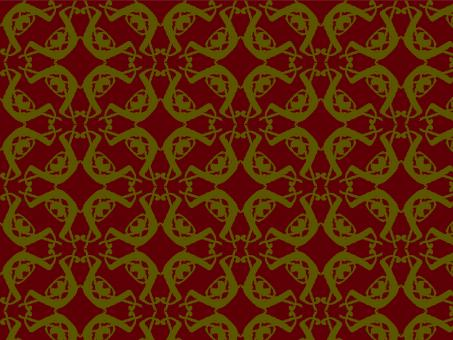 Free Stock Photo of Abstract gold repeat pattern on dark red