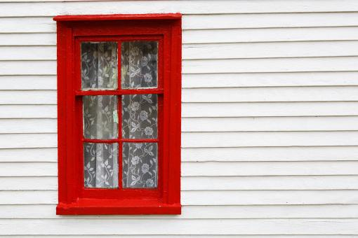Free Stock Photo of Red window frame on white exterior wall