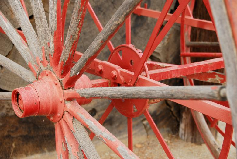 Free Stock Photo of Painted Red Wagon Wheel Created by j. l. johnson