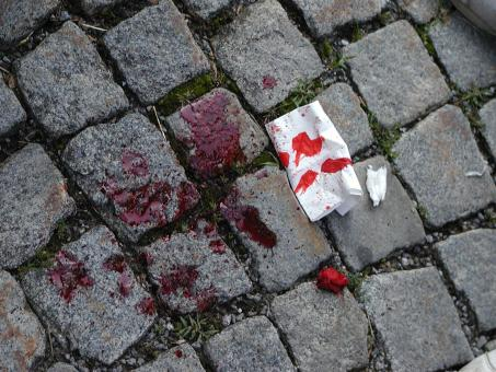 Blood on the pavement - Free Stock Photo