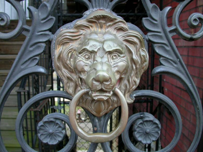 Free Stock Photo of Lion door knob Created by raymond henry