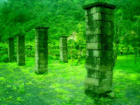 Green pillars - Free Stock Photo