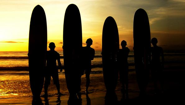 Surfers sunrise - Free Stock Photo
