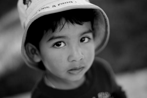 Young boy with a hat - b&w - Free Stock Photo