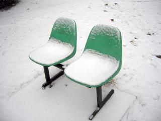 Snow on seats Free Photo