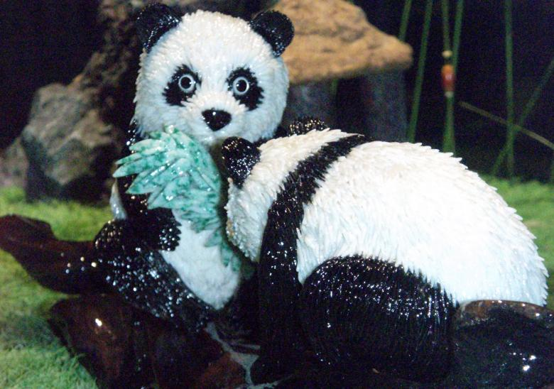 Free Stock Photo of Coral Panda Statue behind glass Created by Mary Mullan