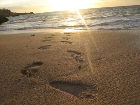 Footprints at coastal sand - Free Stock Photo