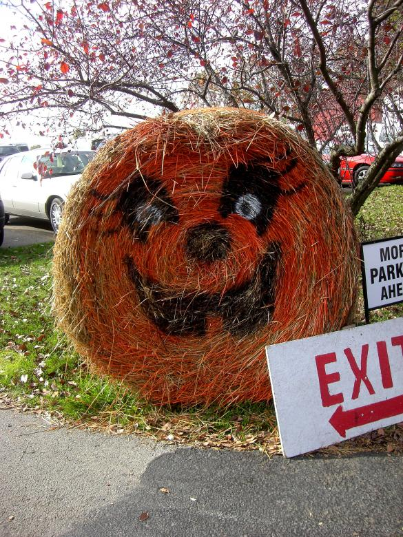 Free Stock Photo of Jack O Lantern Hay Bail Created by Brian