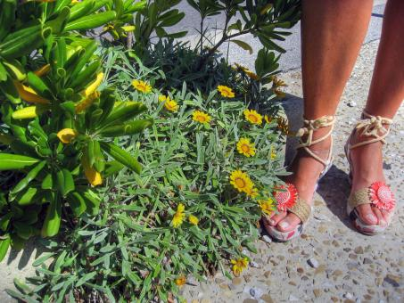 Flowers and Feet, Italy - Free Stock Photo