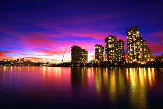 Download City skyline at sunset  Free Photo