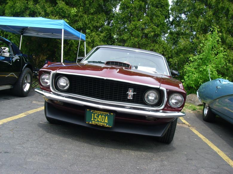 Free Stock Photo of Burgundy Ford Mustang Created by Amanda K Burczyk