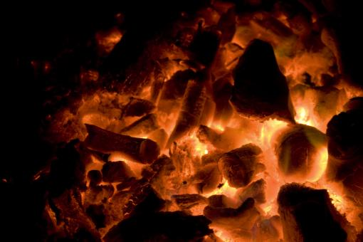 Glowing red hot coals - Free Stock Photo