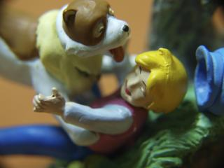 Boy and dog, macro toys Free Photo