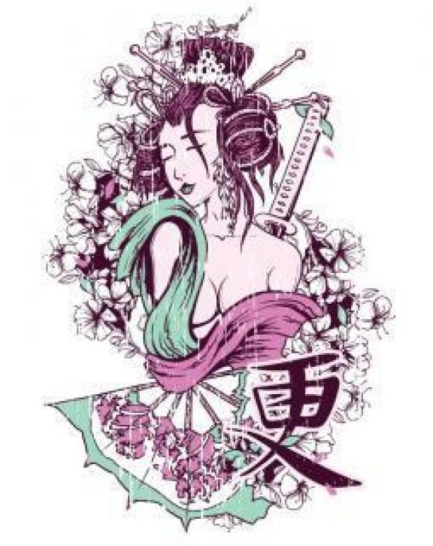 Free Stock Photo of T-shirt Design - Geisha Created by Designious