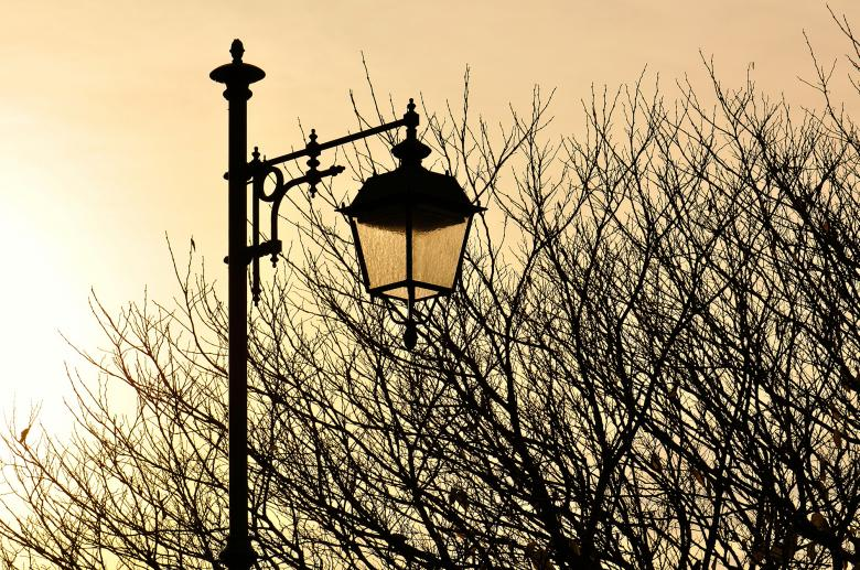 Free Stock Photo of Street lamp at sunset Created by rudy bagozzi